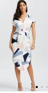 Dresses & Skirts - Short Sleeve Geometric Print Midi Dress - White